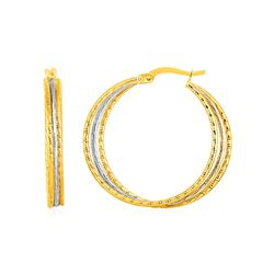 Three Part Textured Hoop Earrings in 14K Yellow and White Gold