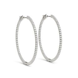 14K White Gold Slim Two Sided Diamond Hoop Earrings (1 1/2 ct. tw.)