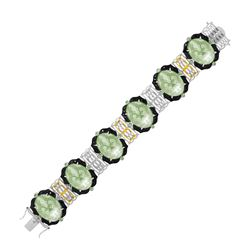 18K Yellow Gold & Sterling Silver Amethyst  Tsavorite  & Diamond Accented Bracelet