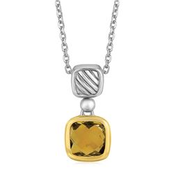 18K Yellow Gold and Sterling Silver Necklace with Cushion Cut Citrine Pendant