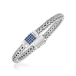 Sterling Silver Weave Motif Bracelet with Blue Sapphire Embellishments