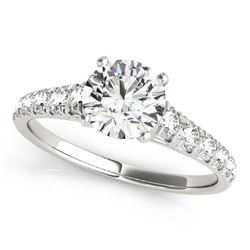 14K White Gold Prong Set Graduated Single Row Round Diamond Engagement Ring (1 7/8 ct. tw.)