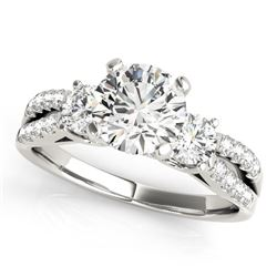 14K White Gold Split Shank 3 Stone Round Diamond Engagement Ring (2 ct. tw.)