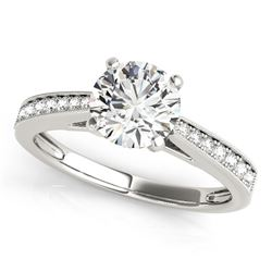 14K White Gold Antique Style Round Graduagted Single Row Diamond Engagement Ring (1 1/8 ct. tw.)