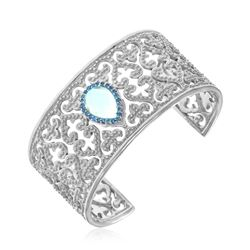 Sterling Silver Blue Topaz and Blue Sapphire Embellished Byzantine Cuff