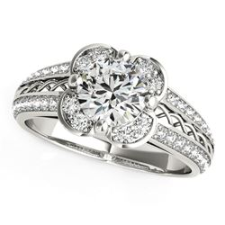 Round Diamond Floral Motif Engagement Ring in 14K White Gold (1 3/8 ct. tw.)