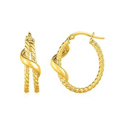 Two Part Twisted Hoop Earrings with Spiral in 14K Yellow gold