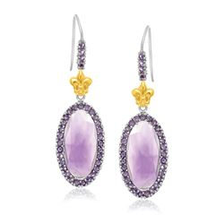 18K Yellow Gold & Sterling Silver Oval Amethyst Fleur De Lis Earrings