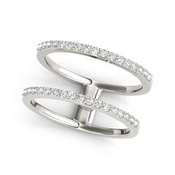 14K White Gold Dual Band Design Ring with Diamonds (1/3 ct. tw.)