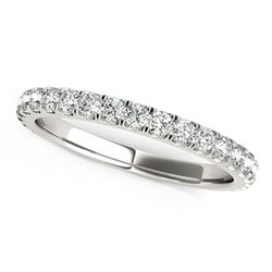 14K White Gold Round Pave Setting Diamond Wedding Band (3/8 ct. tw.)