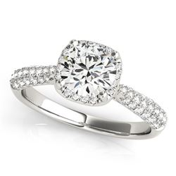 14K White Gold Round Halo Graduated Pave Shank Diamond Engagement Ring (1 1/3 ct. tw.)