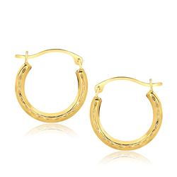 10K Yellow Gold Fancy Hoop Earrings
