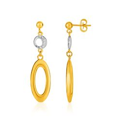 14K Yellow Gold and Diamond Oval and Crescent Moon Earrings (1/10 ct. tw.)