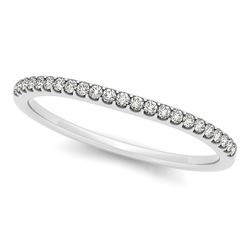 14K White Gold Scallop Setting Round Diamond Wedding Band (1/10 ct. tw.)