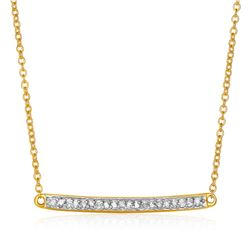 14K Yellow Gold 18 inch Necklace with Gold and Diamond Bar (1/10 ct. tw.)