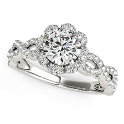 14K White Gold Flower Motif Split Shank Round Diamond Engagement Ring (1 5/8 ct. tw.) Sizes: 5-9