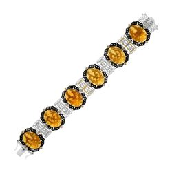 18K Yellow Gold & Sterling Silver Bracelet with Citrine  Quartz  and Diamonds