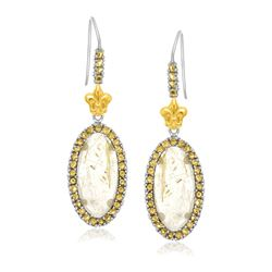 18K Yellow Gold & Sterling Silver Oval Rutilated Quartz & Citrine Drop Earrings