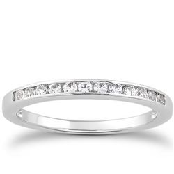 14K White Gold Channel Set Diamond Wedding Ring Band Set 1/3 Around