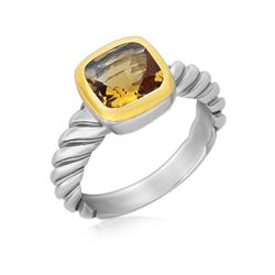 18K Yellow Gold and Sterling Silver Ring with Cushion Citrine and Cable Shank