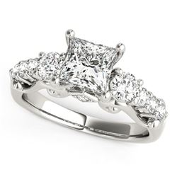 14K White Gold 3 Stone Princess Cut Antique Design Diamond Engagement Ring (1 3/4 ct. tw.)