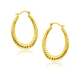 14K Yellow Gold Hoop Earrings with Textured Details