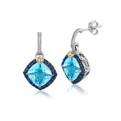 18K Yellow Gold and Sterling Silver Blue Tone Multi Gem Earrings (.43 ct. tw.)