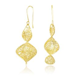 14K Yellow Gold Spiral Earrings with Diamond Cuts and Mesh Design