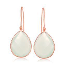 Sterling Silver Rose Gold Plated Dangling Earrings with Teardrop Aqua Chalcedony