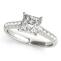 14K White Gold Trellis Set Princess Cut Diamond Engagement Ring (1 1/4 ct. tw.)