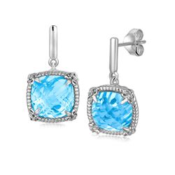 Sterling Silver Sky Blue Topaz and White Sapphires Fleur De Lis Drop Earrings
