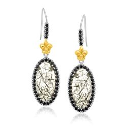 18K Yellow Gold & Sterling Silver Rutilated Quartz Fleur De Lis Drop Earrings