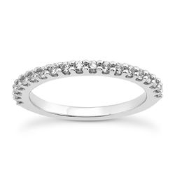 14K White Gold Shared Prong Diamond Wedding Ring Band with U Settings
