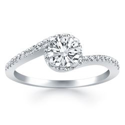 14K White Gold Bypass Swirl Diamond Halo Engagement Ring. Sizes: 4-9