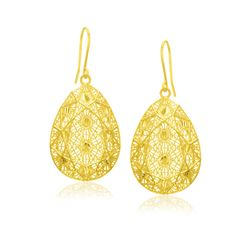 14K Yellow Gold Spiral Pattern Mesh Teardrop Pendant