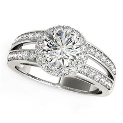 14K White Gold Round Split Shank Style Diamond Engagement Ring (1 1/2 ct. tw.)