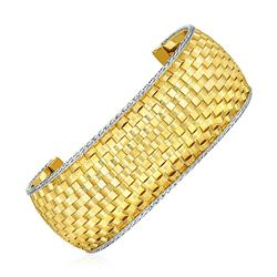 Wide Cuff Bangle with Basket Weave Texture in 14K Yellow and White Gold