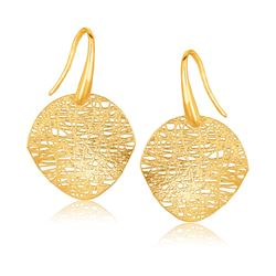 14K Yellow Gold Fancy Textured Weave Earrings