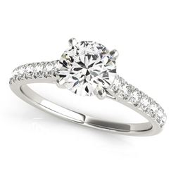 14K White Gold Round Prong Set Single Row Band Diamond Engagement Ring (1 1/3 ct. tw.)