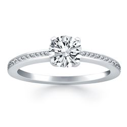 14K White Gold Classic Pave Diamond Band Engagement Ring. Size: 9