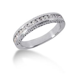 14K White Gold Vintage Style Engraved Diamond Channel Set Wedding Ring Band. Size: 9