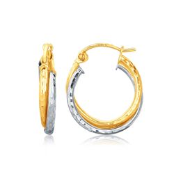 14K Two-Tone Gold Interlaced Hoop Earrings with Hammered Texture