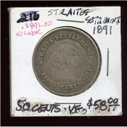 Straights Settlements 1891 80% Silver 50 Cent pc