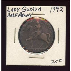 1792 Lady Godiva Great Britain Half Penny Token