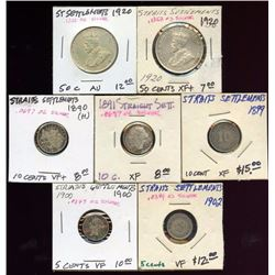 Lot of 7 Straits Settlements Silver 50-10-5 Cents