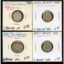 South Africa 80% Silver 3 & 6 Pence, 1934-51