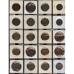 Lot of 20 Great Britain Bronze 1/2 Penny Coins