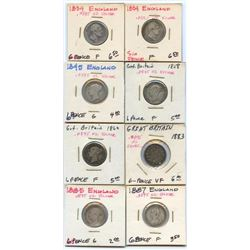 Lot of 8 Great Britain 92.5% Silver 6 Pence coins