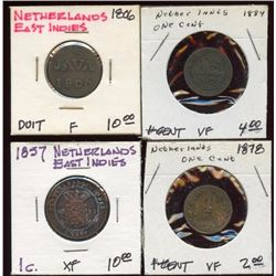 Lot of 4 Netherlands Duit & 1 Cent Coins