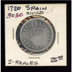 Spain 1720 Silver 2 Reales, 90%, ASW .1965